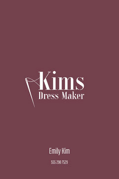 Maroon Dress Maker Business Card Dress
