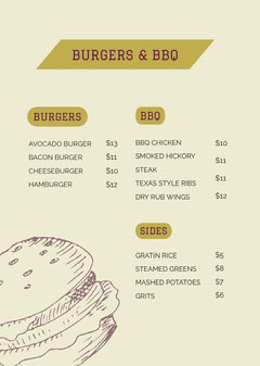 Green and Grey BBQ Menu Burger