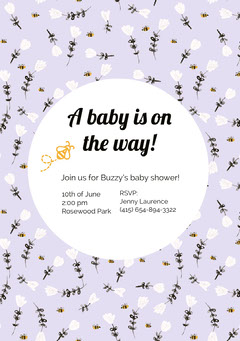 White and Flowered Pattern Baby Shower Invitation Baby Shower (Girl)