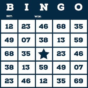 Dark Blue Bingo Card with Numbers Cartazes de jogos
