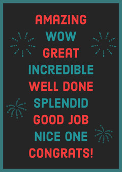 Teal and Red Well Done Congratulations Card with Fireworks Fireworks