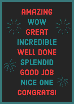 Teal and Red Well Done Congratulations Card with Fireworks God bedring-kort