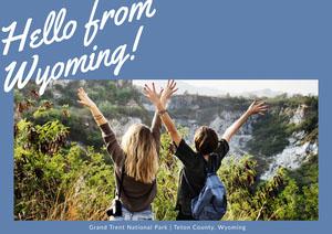Blue Wyoming Postcard with Female Hikers Urlaubspostkarte