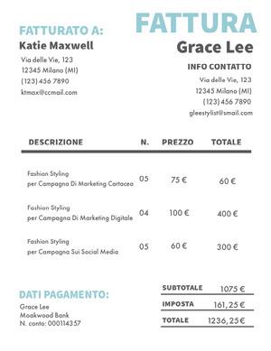 fashion styling invoice  Fattura