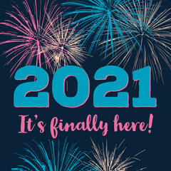 Blue Pink Fireworks New Year 2021 Instagram Square  Fireworks