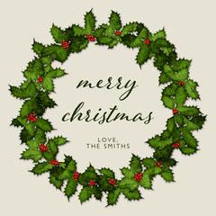 Simple Merry Christmas Wreath Card Christmas Party