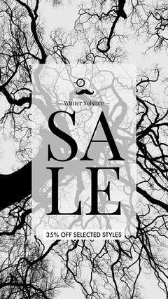 Black and White Sale Ad Instagram Banner  Trees
