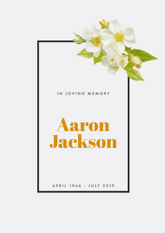 Floral Funeral Invitation Card Rest in Peace