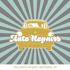 Blue Stripe Auto Repair Shop Instagram Square  Car
