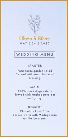 blue bouquet wedding menu Wedding Menu
