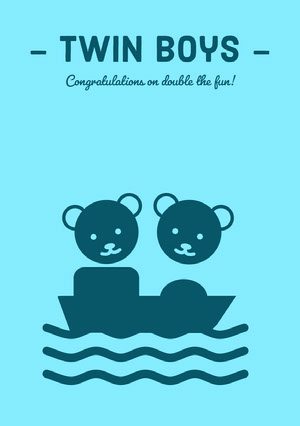 Blue Twins Birth Congratulations Card with Teddy Bear Illustration Biglietto di congratulazioni