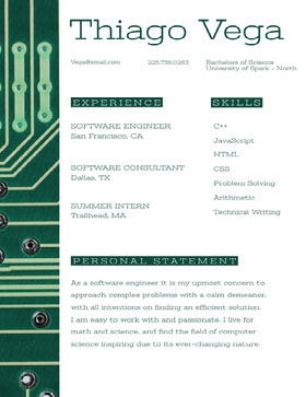 Green Software Engineer Resume with Circuit Board Curriculum creativo