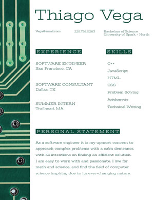 Green Software Engineer Resume with Circuit Board Resume  Examples