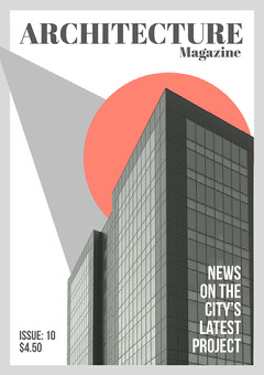 Grey Building Cutout Abstract Shapes Magazine Cover A4 Print Architecture