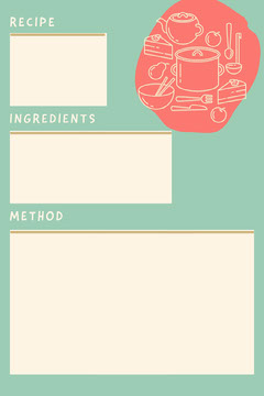Blue Pink and White Pots and Pans Recipe Card Recipes