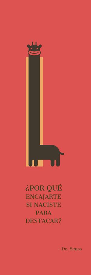 cartoon giraffe bookmarks  Marcapáginas