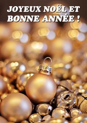 Gold Christmas Bubbles Card Carte de Noël