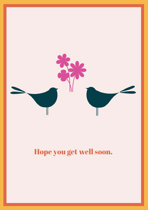 Illustrated Get Well Soon Card with Birds Frame and Flowrs God bedring-kort