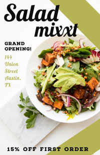 Green Restaurant Opening Event Flyer Ad with Salad 포스터