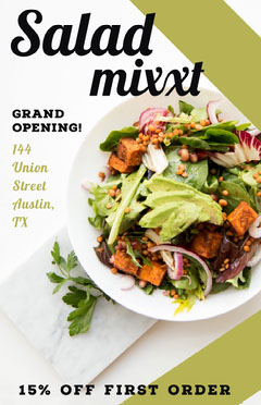 Green Restaurant Opening Event Flyer Ad with Salad Grand Opening Flyer