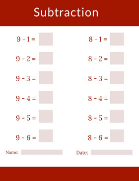 Red and Pink Mathematics Subtraction School Worksheet Study Helpers