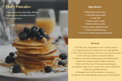 Brown Fluffy Pancakes Recipe Card Brunch