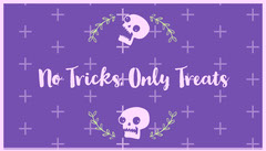 Violet and White Floral Skull Halloween Party Gift Tag Halloween Gift Tag