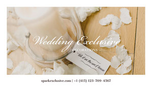 Beige and White Wedding Decoration Service Business Card Business Card