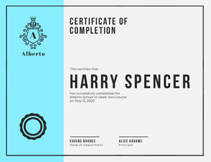 Light Blue Programming Course School Completion Certfiicate Certificate of Completion