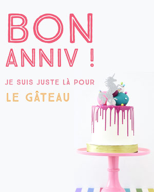 Happy Birthday - I'm just here for cake Carte anniversaire licorne