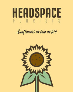 Yellow a Sunflower Headspace Florists Instagram Portrait  Yellow