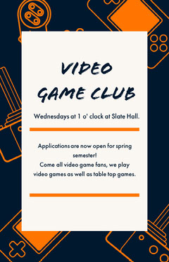 White Orange and Navy Blue Game Club Flyer Play Poster
