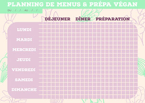 Beige Veggies Vegan Meal Prep Planning A4 Planificateur