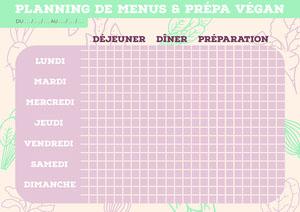 Beige Veggies Vegan Meal Prep Planning A4 Menu