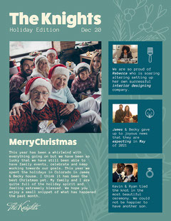 green yellow blue family Christmas newsletter update  Christmas Party
