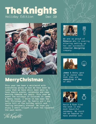 green yellow blue family Christmas newsletter update  Newsletter Examples