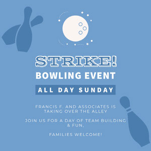 Blue and White Bowling Event Instagram Graphic Bowling Flyer