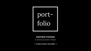 Black and White Creative Professional Video Portfolio Thumbnail Graphic  Portafolio online