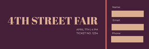 Claret and Beige Street Fair Ticket Bilhete de sorteio
