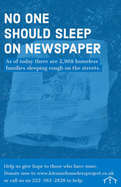 Blue Homelessness Awareness Flyer with Newspaper Awareness
