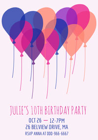 Light, Pink, White and Blue Birthday Party Invitation Birthday
