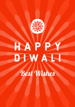 Red and White, Bright Toned, Diwali Wishes Card Diwali
