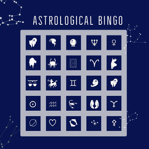 White and Navy Blue Bingo Card ビンゴカード