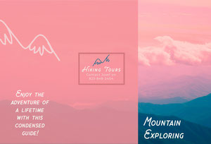 Pink Mountains at Sunset PHoto Hiking Brochure Travel Brochure