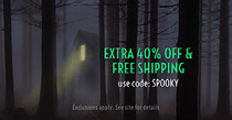 Grey and Green Spooky Mysterous Shopping Coupon Facebook Banner Scary