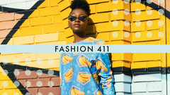 Bright Yellow and Blue Fashion Youtube Channel Art Banner with Model Fashion Show