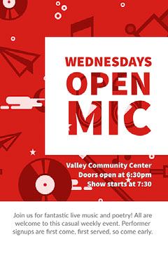 Red and White Open Mic Poster Live Music Flyer