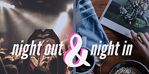 Grey Toned Night Out and Night In Collage Facebook Banner Customized Vinyl Banner