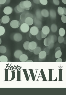 Grey and White, Diwali Wishes Card Tarjetas