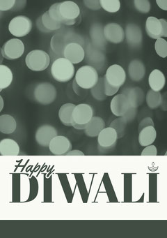 Grey and White, Diwali Wishes Card Festival